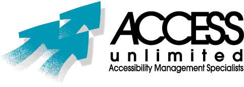 ACCESS Unlimited Logo (3 Arrows, Name and Phrase Accessibility Management Specialists)